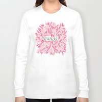 french Long Sleeve T-shirts featuring Pardon My French – Pink by Cat Coquillette