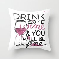 wine Throw Pillows featuring wine by desfigure