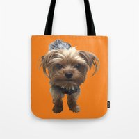 terrier Tote Bags featuring Terrier by Pop Art Pet Portraits