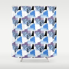 Blue Multicolored 90's Style Pattern Shower Curtain