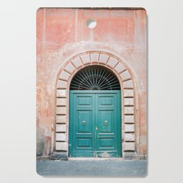 Turquoise Green door in Trastevere, Rome. Travel print Italy - film photography wall art colourful. Cutting Board