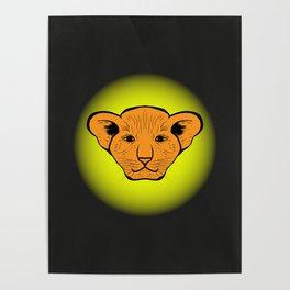 lion cub drawn. lion cub drawn from human gaze Poster
