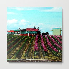Mule Rides Through The Tulips Metal Print
