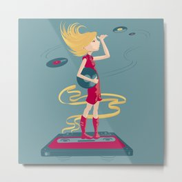 Vintage Music Girl Metal Print