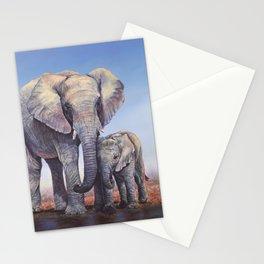 Elephants Mom Baby Stationery Cards