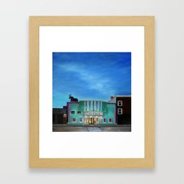 Evening at the Colonial Movie Theater Painting Framed Art Print