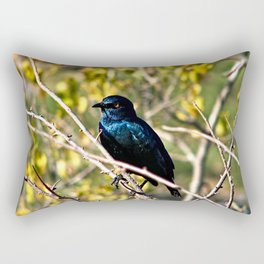 African Blue Bird Perched Tree Branches Rectangular Pillow
