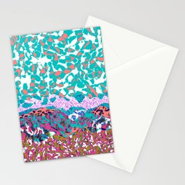 Pattern layers, pink,turquoise Stationery Cards