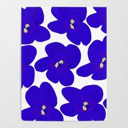 Blue Retro Flowers #decor #society6 #buyart Poster
