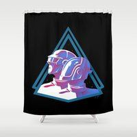 daft punk Shower Curtains featuring Daft Punk: Daft Deco by JoPruDuction Art
