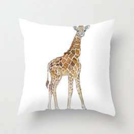 Baby Giraffe Watercolor Painting Throw Pillow