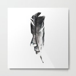 Feather Face Metal Print