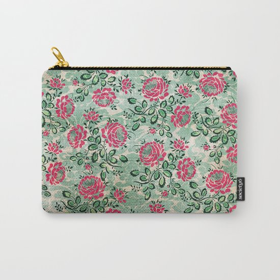 Retro French Floral Pattern Carry-All Pouch
