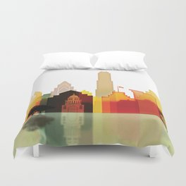 Austin colorful skyline Duvet Cover