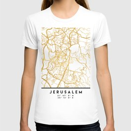 JERUSALEM ISRAEL PALESTINE CITY STREET MAP ART T-shirt