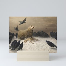 Anguish - August Friedrich Albrecht Schenck - Ravens and Sheep Mini Art Print