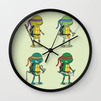 teenage mutant ninja turtles Wall Clocks featuring Teenage Mutant Ninja Turtles by Glimy