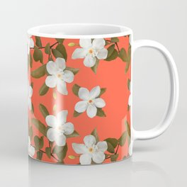 White Angel Flowers in Tangerine Coffee Mug