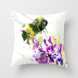 Bumblebee and Flowers floral bee design Throw Pillow