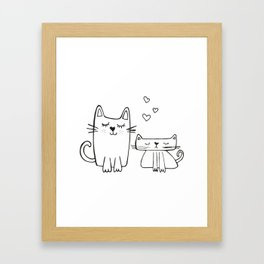 Two little cats, kids room and nursery deco Framed Art Print
