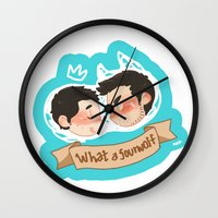 sterek Wall Clocks featuring sterek by oh, wolves