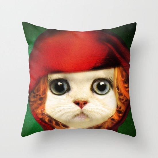 Kitten red riding  Throw Pillow