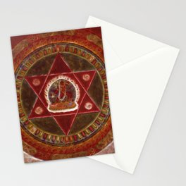 Vajrayogini stands in the center of two crossed red triangles Stationery Cards