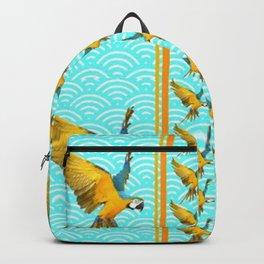 GOLD & BLUE TROPICAL MACAWS VERTICAL ART Backpack