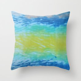 Wave Tie Dye January Ocean Throw Pillow