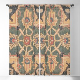 Geometric Leaves VI // 18th Century Distressed Red Blue Green Colorful Ornate Accent Rug Pattern Blackout Curtain