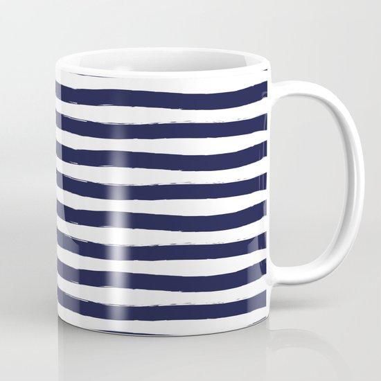 Navy Blue and White Horizontal Stripes Coffee Mug by ...