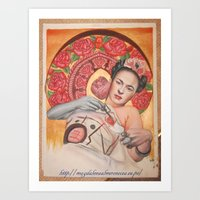 frida kahlo Art Prints featuring Frida kahlo by Magdalena Almero
