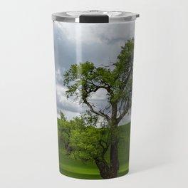 Single Tree in Green Field Travel Mug