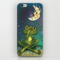 Frog and stinky moon iPhone & iPod Skin