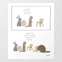 tim shumate Art Prints featuring Dammit, Tim  by Liz Climo