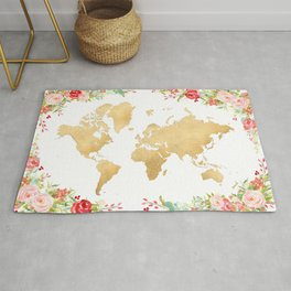 Floral and gold world map without labels Rug