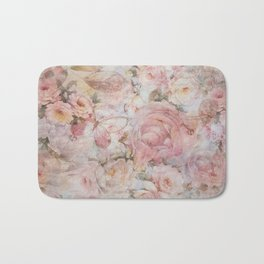 Vintage elegant blush pink collage floral typography Bath Mat