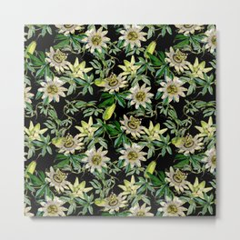 Vintage & Shabby Chic- Retro Passiflora Caerulea Pattern Metal Print