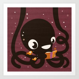 Octopus Book Bag Art Print