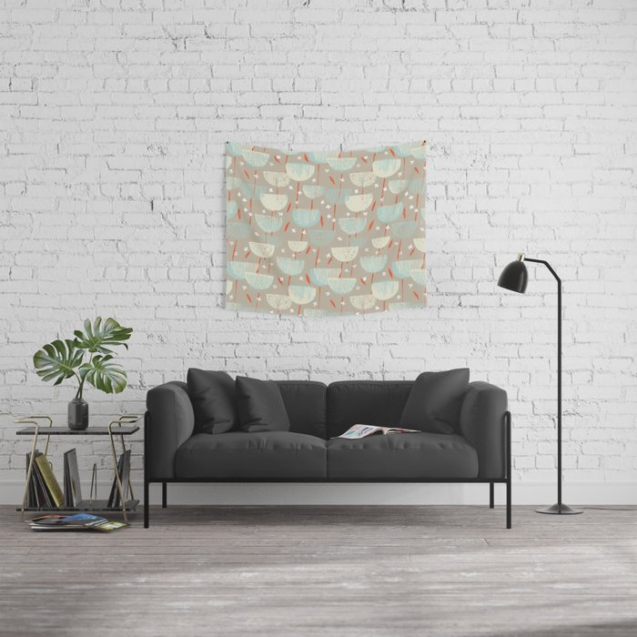 Botanical Block Print M+M Latte by Friztin Wall Tapestry