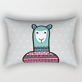 Doodle Alpaca on Grey Triangle Background Rectangular Pillow