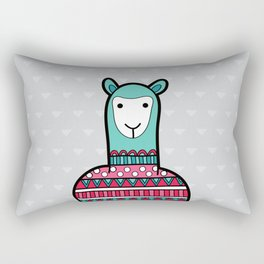 Doodle Alpaca on Grey Triangle Background Rectangular Pillow