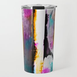 cactus with wooden background and colorful painting abstract in orange blue pink Travel Mug