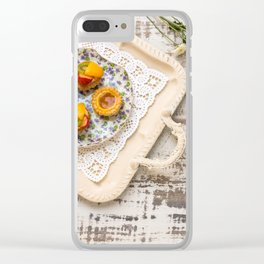 Tea cups and fruit tarts Clear iPhone Case
