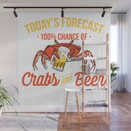 Crabs And Beer Forecast Alcohol Seafood Drinking Wall Mural
