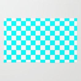 Small Checkered - White and Aqua Cyan Rug