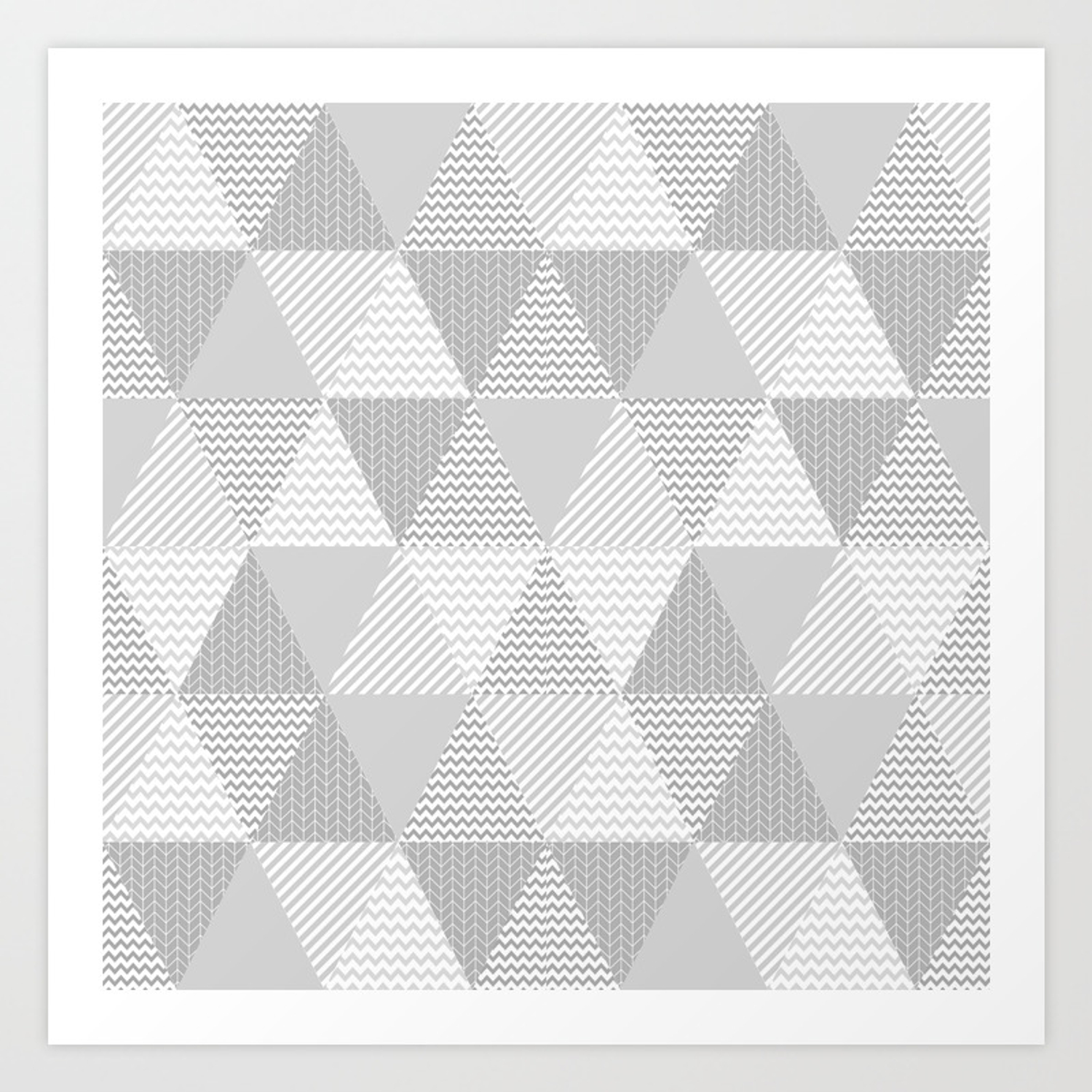 triangle quilt pattern grey and white minimal modern basic nursery art print by charlottewinter