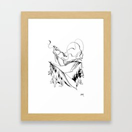 Peaks Pulse in the Clouds :: Single Line Framed Art Print
