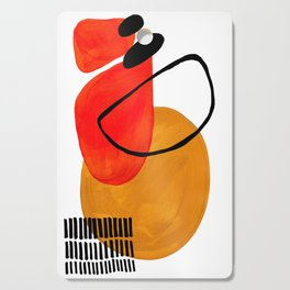 Mid Century Modern Abstract Vintage Pop Art Space Age Pattern Orange Yellow Black Orbit Accent Cutting Board