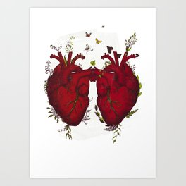 two hearts beating as one Art Print